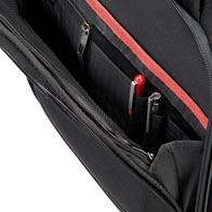 Large front zipped pocket with fully featured organization.