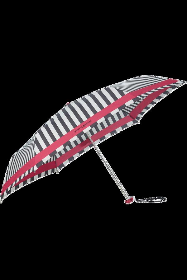 Samsonite R-Pattern 3 Sect. Manual Flat  Black/White Stripes/Rose Red