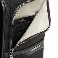 Two large front pockets with internal organization, one of which with rfid-protection. RFID-protected pocket protects against payment and identity fraud through skimming, by placing rfid-blocking material between the product's outer layer and internal lining.