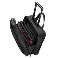 Padded laptop and tablet compartments with elastic Velcro fixation strap.